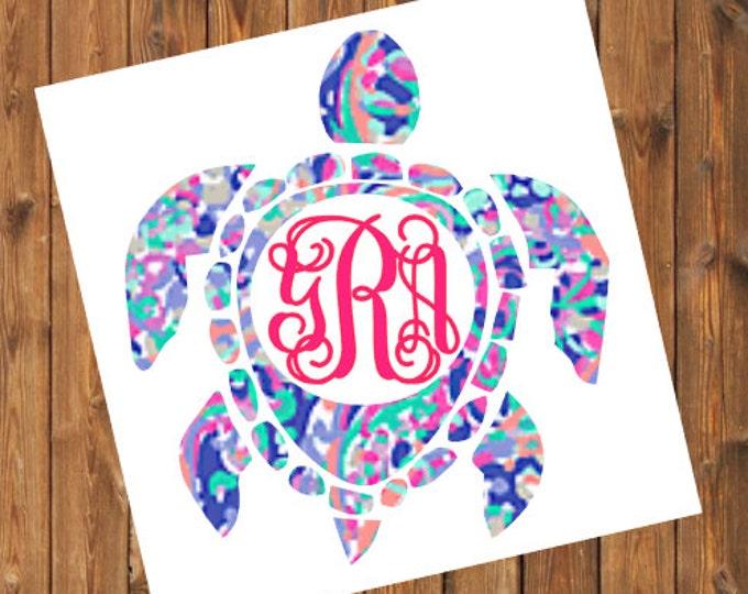 Free Shipping- La Playa Sea Turtle Monogram Decal, Personalized,Yeti Rambler, RTIC Corkcicle, Laptop,Sticker, Sea Turtle, Ocean Beach Bay