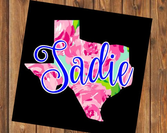Free Shipping-Personalized Texas decal, floral print pattern vinyl decal, Yeti RTIC tumbler tumblr cup, sticker decal name,laptop car window