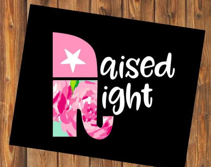 Free Shipping-Raised Right Republican Elephant,Trump Train Decal,Lilly Pulitzer Floral,Political Car Decal,Political sticker, Sticker,Yeti
