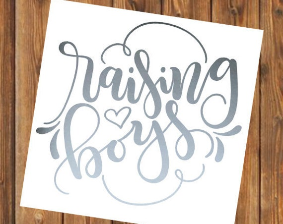 Free Shipping-Raising Boys, Boy Mom, Mom of Boys, Yeti Decal, Cooler, Yeti, Laptop, Back to School Sticker