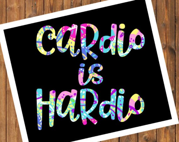 Free Shipping-Cardio Is Hardio Decal, Sanddollar Vinyl Decal, Fitness Weight Loss Workout, RTIC SIC Corkcicle Personalized, Yeti, Laptop