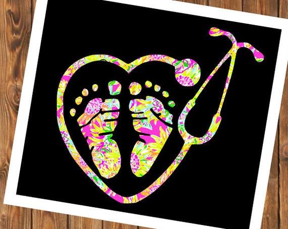 Free Shipping-Baby Feet Pediatric Nurse Lilly Print Decal, Nurse,Doctor, Nurse Practitioner, RN, LVN, LPN,Yeti, Laptop, Stethoscope, Heart