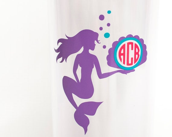 Mermaid Monogrammed Tumbler,double-wall acrylic tumbler,tall skinny cup, travel mug, personalized gift, vine monogram cup, seashell, summer