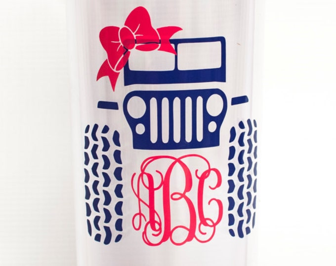 Jeep Monogrammed Tumbler,double-wall acrylic tumbler,tall skinny cup, travel mug, personalized, vine monogram, offroading, summer tumbler