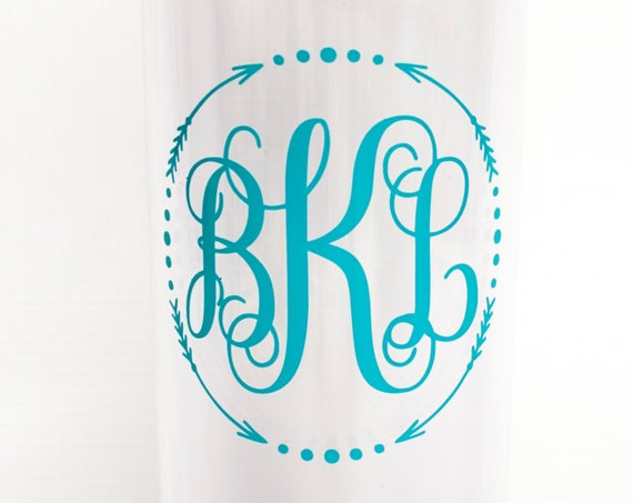 Monogram tumbler, Arrow double-wall acrylic tumbler,tall skinny cup,travel mug,personalized gift,lake cup, beach tumbler, vine monogram