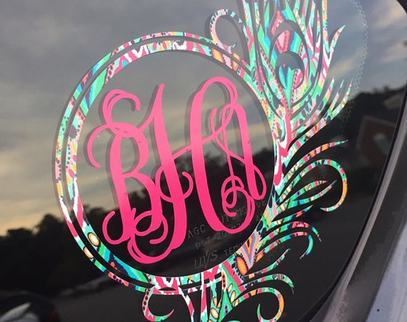 Free Shipping-Monogram Decal,Peacock Monogram,Lilly Pulitzer Decal,Feather Decal, Cooler, Yeti, Laptop, Monogram Sticker, Peacock Sticker