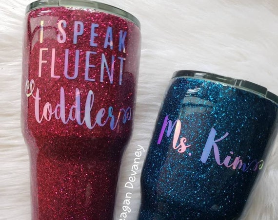 Personalized Glittered Stainless Steel Tumbler/ Day Care/Preschool Teacher/Boy Girl Both Mom Cup/Yeti/Ozark, Sparkle Cup, Glitter, Christmas