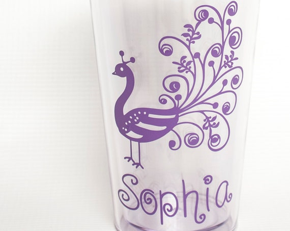 Kid's Tumbler,  Peacock Cup, Summer, beach, lake Double-Wall Tumbler, 12 oz Acrylic Cup with Lid and Straw,toddler cup, vacation, road trip