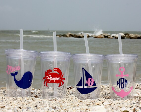 Kid's Summer/beach/lake Double-Wall Tumbler/12 oz Acrylic Cup with Lid and Straw