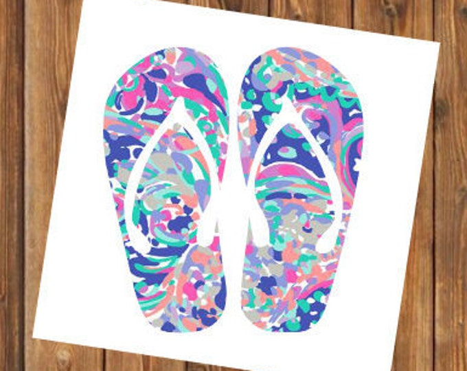 Free Shipping- La Playa Flip Flops Monogram Decal, Personalized,Yeti Rambler, RTIC Corkcicle, Laptop,Sticker, Sea Turtle, Ocean Beach Bay