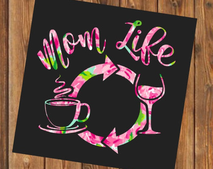 Free Shipping-Mom Life, Coffee Wine Repeat, Parenthood, Yeti Rambler Decal, Yeti Cooler, Laptop Sticker,Lilly Pulitzer,Boy Girl Both Mom