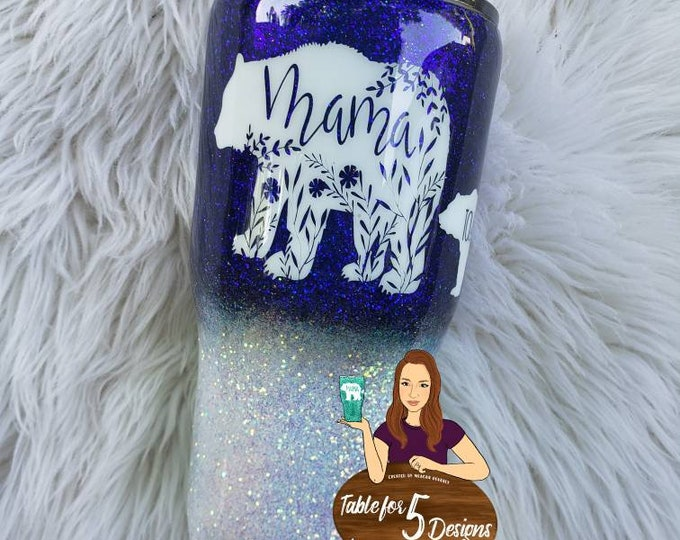 Personalized Glittered Stainless Steel Tumbler/Mama Bear/ Boy Girl Both Mom Cup/Hogg/Yeti/RTIC/Ozark, Sparkle Cup,Glitter,Monogram,Christmas