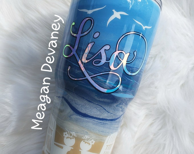 Personalized Beach Tumbler,Stainless Steel Tumbler/Cup/Yeti/RTIC/Ozark, Painted Cup, monogram, Wedding, Engagement, Bride, Bridesmaid