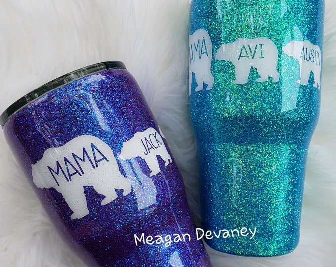 Personalized Glittered Stainless Steel Tumbler/ Mama Bear/ Boy Girl Both Mom Cup/Yeti/RTIC/Ozark, Sparkle Cup, Glitter, Monogram, Christmas
