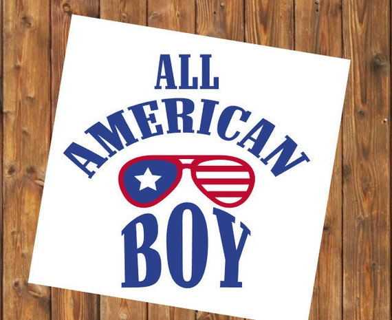Free Shipping- Red White and Blue, All American Boy, American Made, USA, Veteran, Military Brat, Yeti RTIC SIC, Laptop Sticker Decal