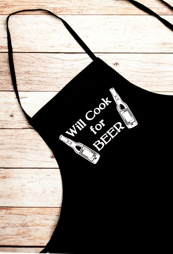 BBQ Apron, Will Cook For Beer, Beer Bottles, Gift for Him, Grill Master, Bar-b-que pit, summer, outdoors, cook, chef, Father's Day Gift