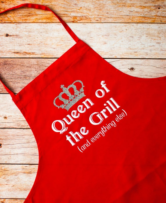 BBQ Apron, Queen of the Grill, Bakery, Pastry Chef, Gift for Her, Grill Master, Bar-b-que pit, summer, outdoors, cook, chef, Mother's Day