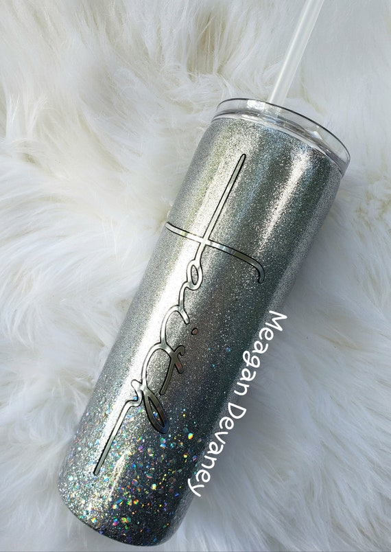 Personalized Glittered Stainless Steel Tumbler/Motivational/Yeti/Ozark Sparkle Cup, Wedding Engagement Anniversary Birthday Christmas Gift