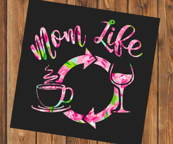 Free Shipping-Mom Life, Coffee Wine Repeat, Parenthood, Yeti Rambler Decal, Yeti Cooler, Laptop Sticker,Lilly Pulitzer,Boy Girl Both Mom