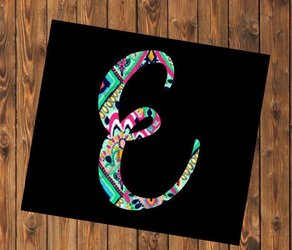 Free Shipping-Single Initial Vine Cursive Monogram Decal, Lilly Pulitzer inspired decal sticker, Personalized,Yeti, Laptop,Monogram Sticker