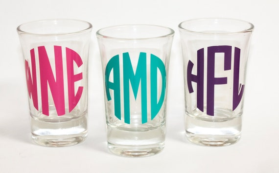 Personalized/Monogrammed/Bridesmaid shot glasses/Maid of Honor/Bridesmaid/Matron of Honor/bachelorette party/girl's trip/girl's weekend