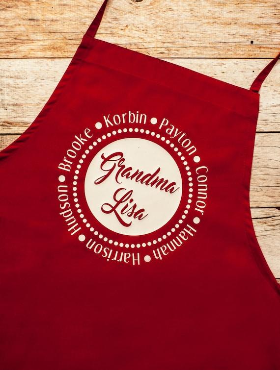 Grandmother Apron Personalized, Nana Mimi Grandma Christmas gift, grandkids, grandparents, baking cookies, Christmas party, Holiday gifts