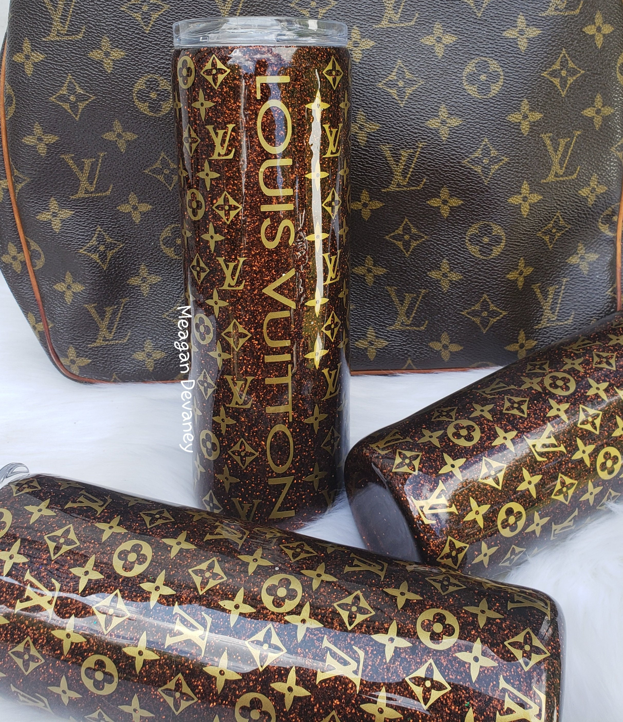 c597d5d0d17 LV Louis Vuitton Inspired Glittered tumbler, stainless steel insulated cup  lid and straw, Hogg/Yeti, Christmas Birthday Designer Purse Gift