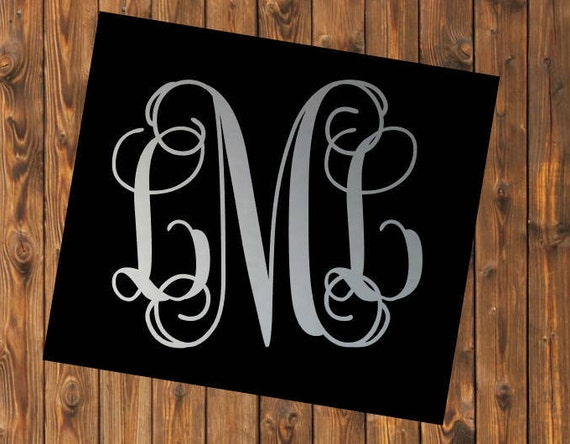 Free Shipping-Cursive Vine Monogram Decal, Yeti Decal, Vine Circle Monogram, Personalized, Cooler, Yeti, Laptop, Back to School Sticker