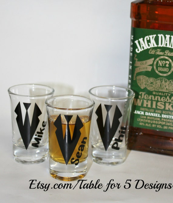 Personalized wedding shot glasses/ tux/ groom/ groomsman/ bachelor party