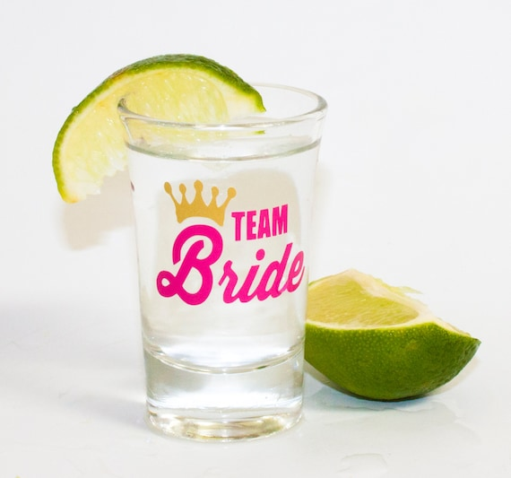 Team Bride Shot Glass, Bridesmaid shot glasses, Maid of Honor, Bridesmaid, Matron of Honor, bachelorette party, girl's trip, girl's weekend