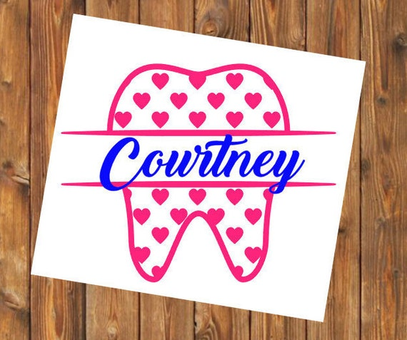 Free Shipping-Personalized Dental Assistant Decal Sticker, Heart Love Dentist Dental Hygienist Dental Student Yeti RTIC Cup Water Bottle