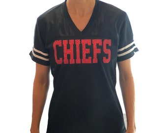 Customized Team Name - Jersey Glitter Shirt - KC Chiefs or Personalized - Bling  Women Ladies Tee Football Baseball Sports 8bb84493c