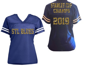 64286a1f05b Stanley Cup Champs Glitter Jersey for Women, St Louis Blues Hockey Shirt  2019 Champions Celebration Jersey - Choose Custom Colors