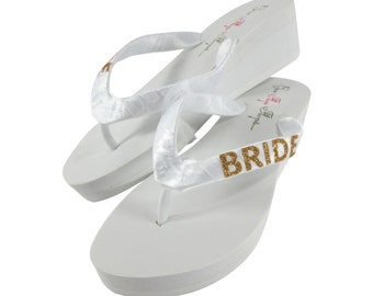 97a769a99bf4eb Bridal Flip Flops - White or Ivory 2 inch Wedges with Gold Glitter Bride -  or choose 1.25 inch or 3.5 inch platform heel for the wedding