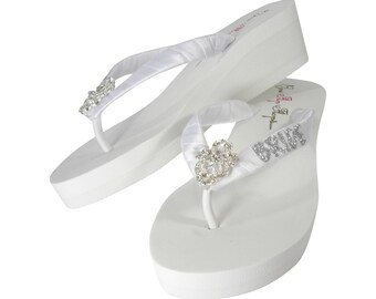 76a5b792e385eb Wedge Flip Flops Bride - Ivory White  Silver Many Colors Glitter