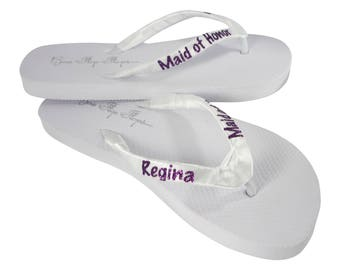 743af1b281c396 Personalized Glitter Name Maid of Honor Flip Flops for the Wedding