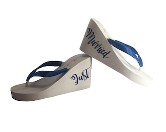19a38ade4 Just Married Wedge Flip Flops - Choose Colors - White or Ivory - 1.25 inch  - 2