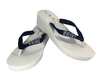 284b623588976b Bride Flip Flops in Navy   Silver and White- or choose colors -Glitter - Ivory or White Wedge or Flat