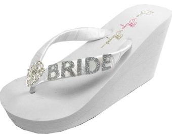 a48944b918c Bridal Flip Flops with Silver Glitter Bride   Vintage Lace Rhinestone  Embellishment