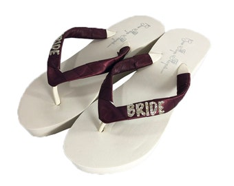 6e1f920455257 Bridal Wedge Flip Flops - Champagne Glitter with Burgundy Wine Satin Straps  - or custom design your wedding colors