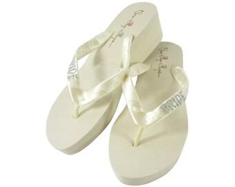 f4858169aa618 Silver   Ivory Bling Wedding Bride Flip Flops