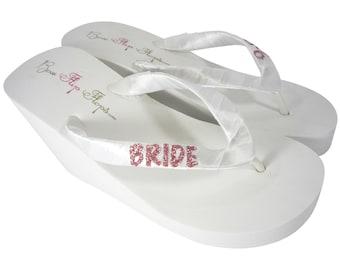 5198573d4a04a0 Rose Gold Glitter BRIDE Flip Flops in Wedge or Flat Heel - Choose Custom Sparkle  Colors - Ivory White
