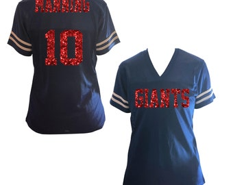 Choose Any Team   Colors Glitter Jersey Women s Shirt - Giants Manning -  Ladies  Customizable Bling   Player Name Number 86b2d7e20