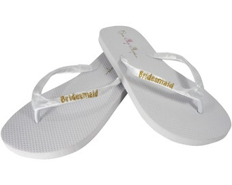 b4755b3fe84da4 Bridesmaid Flat Flip Flop Sandals for Wedding Shoes