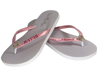 cef9097329adbb Just Married Flip Flops with Personalized Wedding Date
