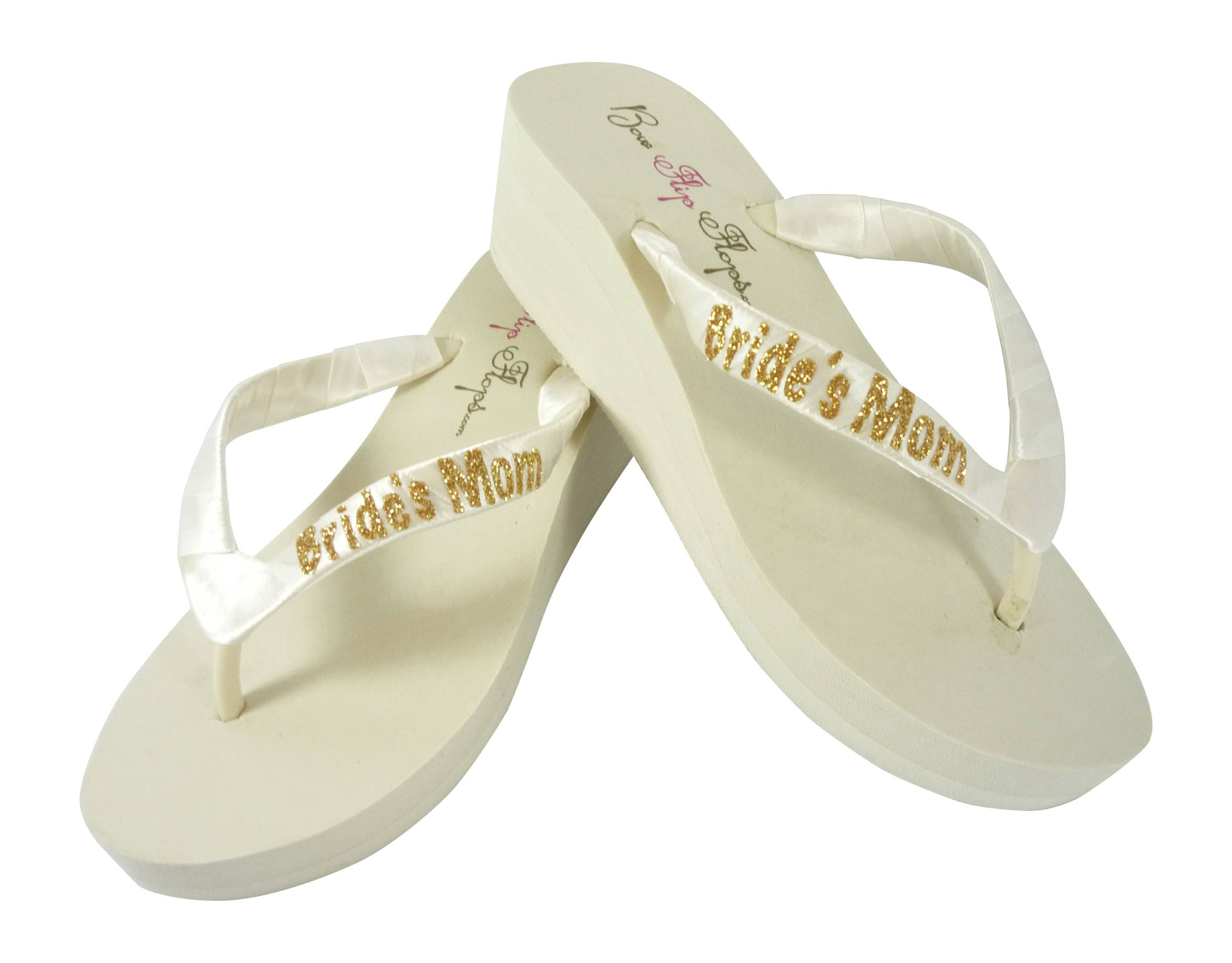 676427e893a3d Gold Glitter   Ivory Bride s Mom Flip Flops  or choose any