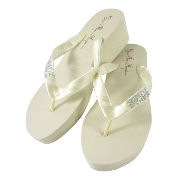 Sandals Flip Bridal or choose Flops High Flip Platform Bling Flops Wedding Glitter White Low Wedges 6wd4Zwqp
