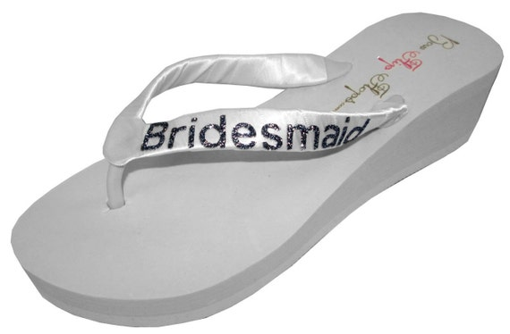 with 2 inch choose Bridesmaid any or colors Flops Flip customizable wedge Glitter Black bling Ivory w1SqTgA