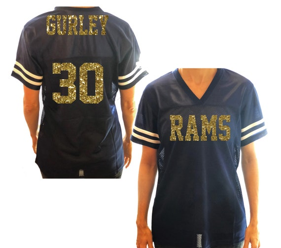 best service 13165 93de2 Your Favorite Team Glitter Jersey Shirt - LA Rams Gurley Football - Gold  and Navy Blue- Personalized in Custom Colors - Bling Mom Sports Tee