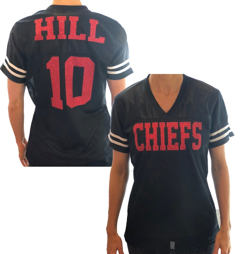 c78265eb0 Chiefs Hill or Any Glitter Name and Number Team Jersey